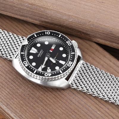20mm Solid End Mesh Band Stainless Steel Watch Bracelet, Wetsuit Ratchet Buckle, Polished - Strapcode