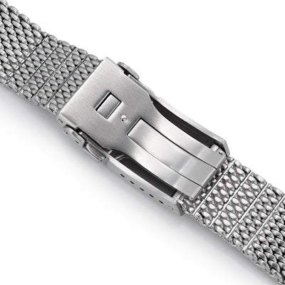 20mm, 22mm Solid End Massy Mesh Band Stainless Steel Watch Bracelet, Button Chamfer Diver Clasp, Brushed - Strapcode
