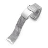 Curved End Massy Mesh Watch Band for Seiko new Turtles SRP777, V-Clasp, Polished Strapcode Watch Bands
