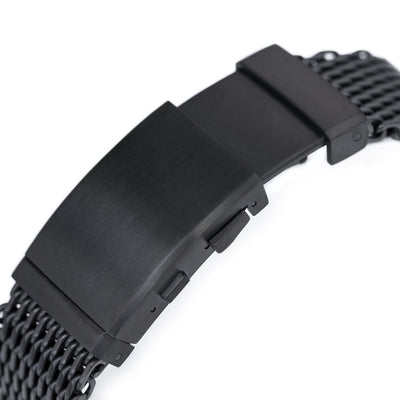 22mm Winghead SHARK Mesh Band Stainless Steel Watch Bracelet, Wetsuit Ratchet Buckle, PVD Black