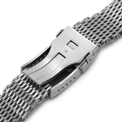 22mm Winghead SHARK Mesh Band Stainless Steel Watch Bracelet, Button Chamfer Clasp, Brushed