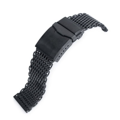 22mm Winghead SHARK Mesh Band, Button Chamfer, PVD