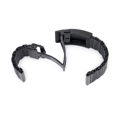 22mm Winghead SHARK Mesh Band Stainless Steel Watch Bracelet, V-Clasp, PVD Black