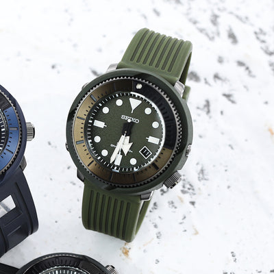 22mm Groove Lines Military Green Silicone Soft Watch Strap on 316L SS Polished Buckle