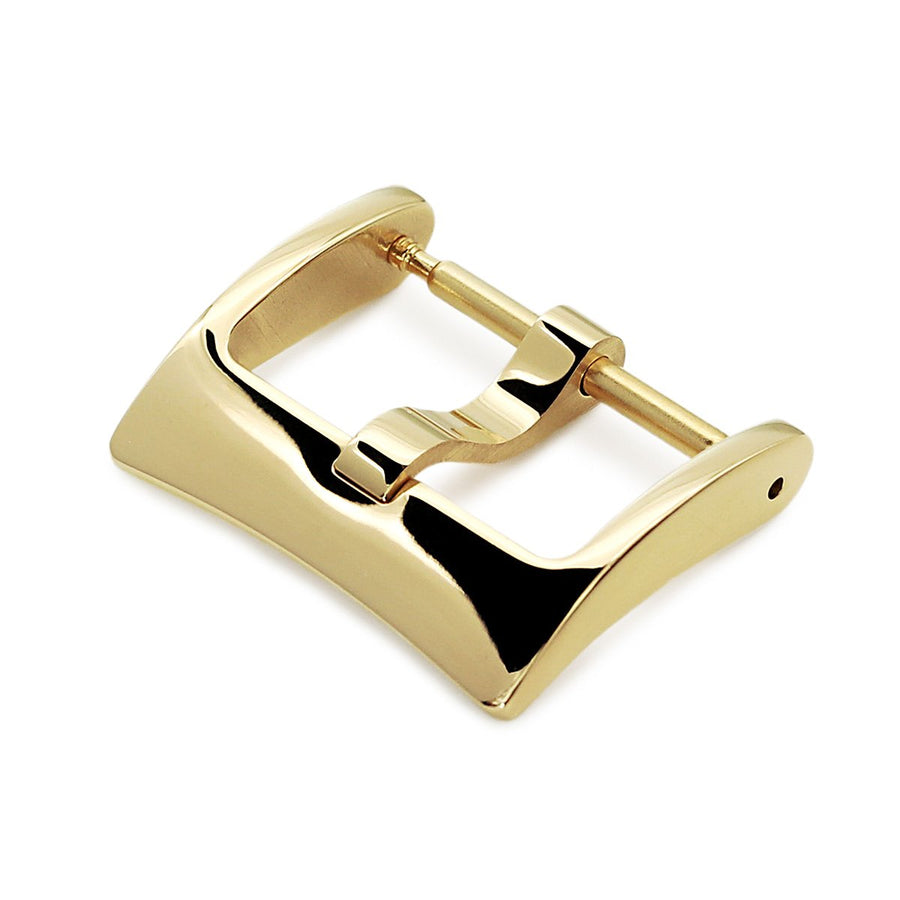 16mm, 18mm, 20mm #65 Classic Tang Buckle for Leather Watch Strap, Polished IP Gold