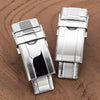 16mm 18mm or 20mm Solid 316L Stainless Steel Double Locks Turning Clasp Button Control Brushed Strapcode Buckles