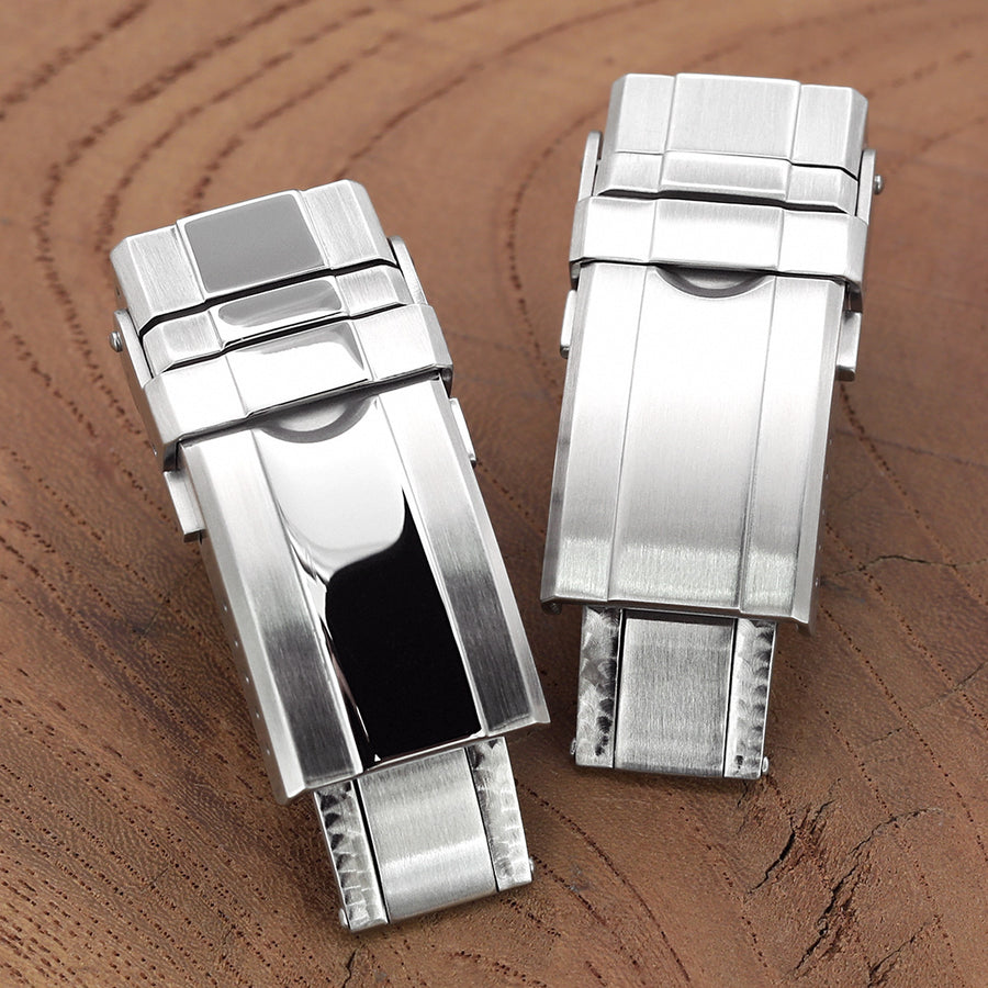 16mm, 18mm or 20mm Solid 316L Stainless Steel Double Locks Turning Clasp, Button Control, Brushed & Polished center - Strapcode