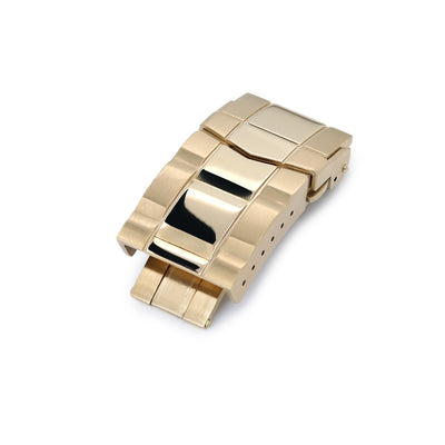 18mm Solid 316L Stainless Steel Double Locks Submariner Diver Clasp, Button Control, Brushed & Polished IP Gold - Strapcode
