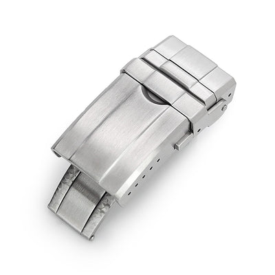 16mm, 18mm or 20mm Solid 316L Stainless Steel Double Locks Turning Clasp, Button Control, Brushed - Strapcode