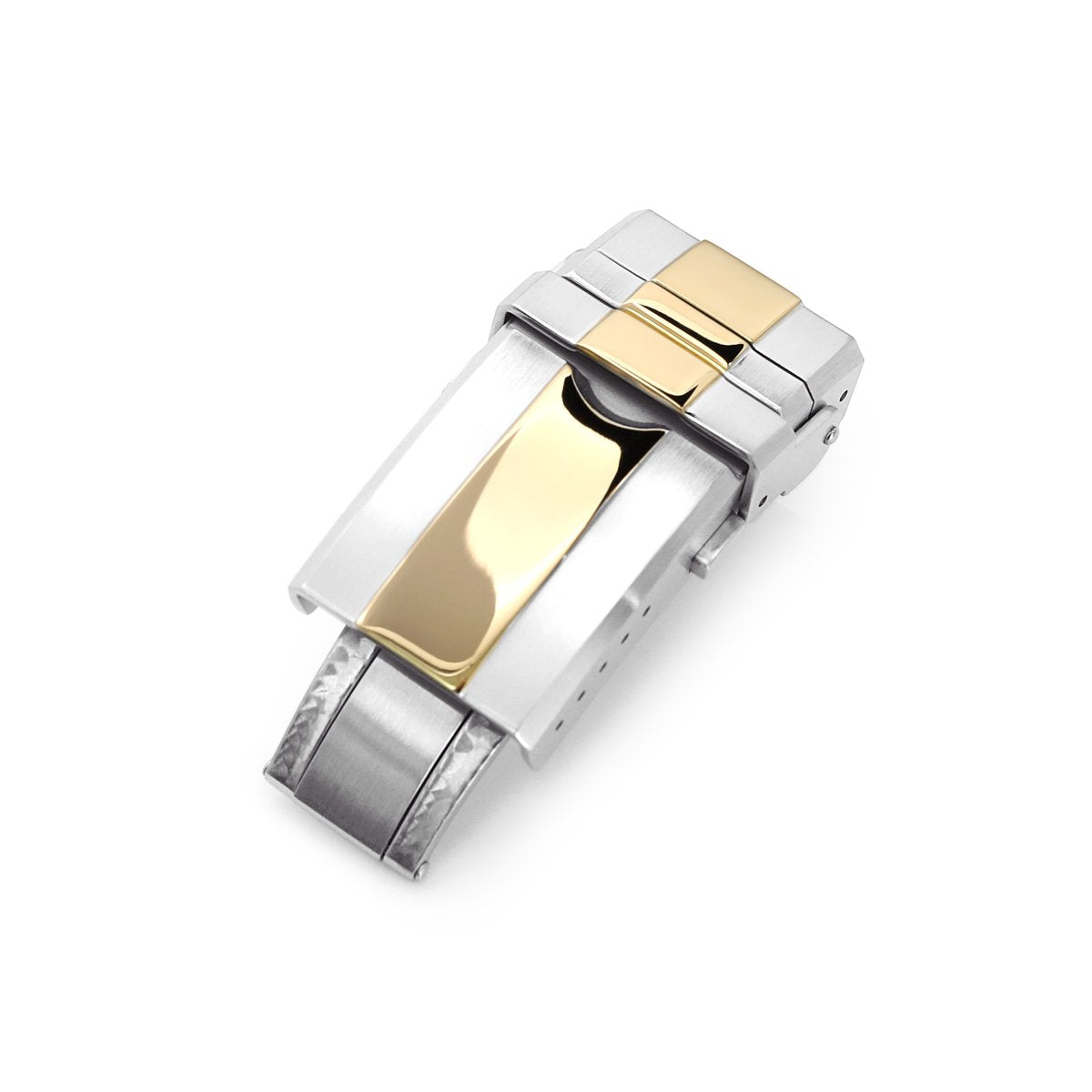 16mm 18mm or 20mm Solid 316L Stainless Steel Double Locks Turning Clasp Button Control Brushed with IP Gold Center Strapcode Buckles