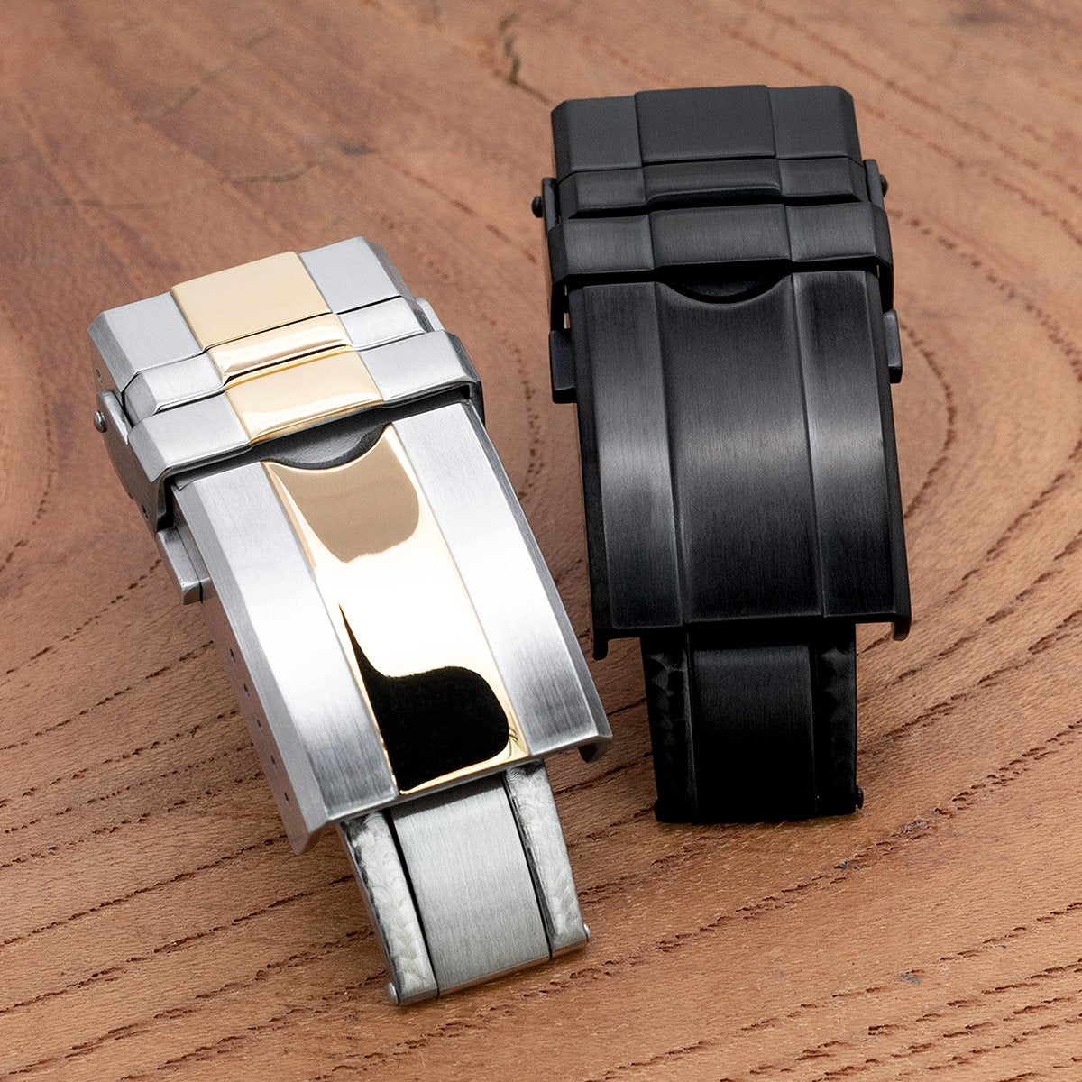 16mm 18mm or 20mm Solid 316L Stainless Steel Double Locks Turning Clasp Button Control PVD Black Strapcode Buckles