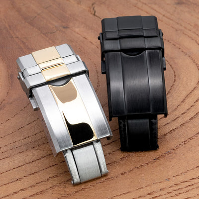 16mm, 18mm or 20mm Solid 316L Stainless Steel Double Locks Turning Clasp, Button Control, PVD Black - Strapcode