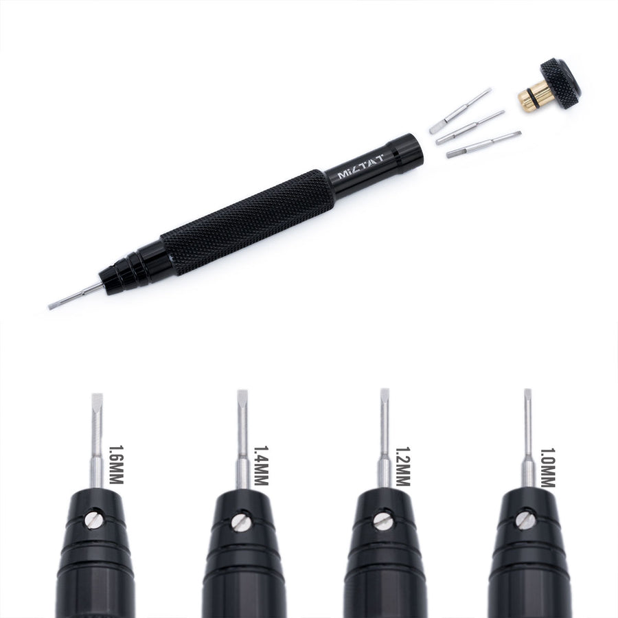 MiLTAT Black Aluminum Round Knurled Shank Screwdrivers, 4 interchangeable blades