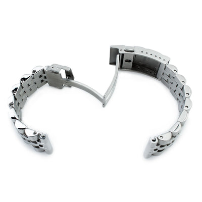 20mm ANGUS Jubilee 316L Stainless Steel Watch Bracelet Straight End, Submariner Clasp - Strapcode