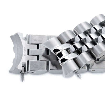 20mm ANGUS Jubilee 316L Stainless Steel Watch Bracelet for Seiko SARB033, Brushed, Submariner Clasp - Strapcode