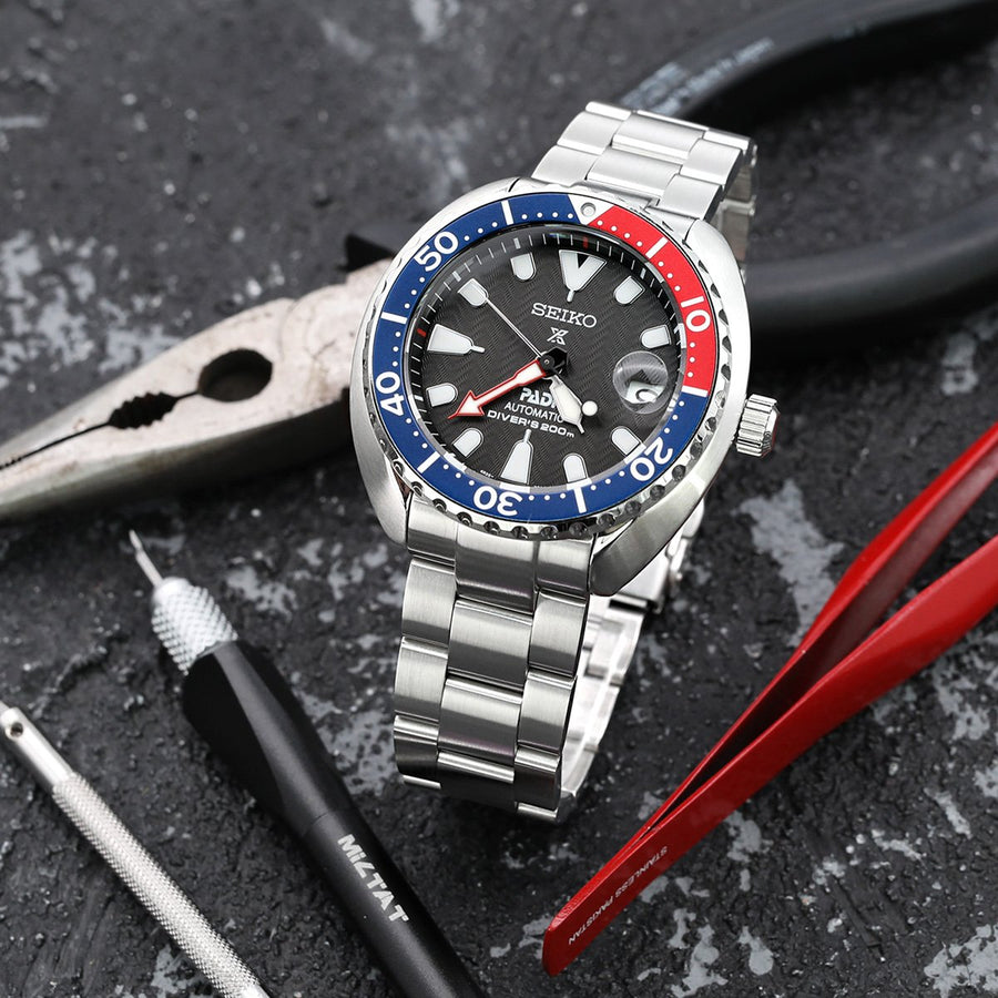 20mm Super 3D Oyster 316L Stainless Steel Watch Bracelet for Seiko Mini Turtles SRPC35, Button Chamfer, Brushed - Strapcode