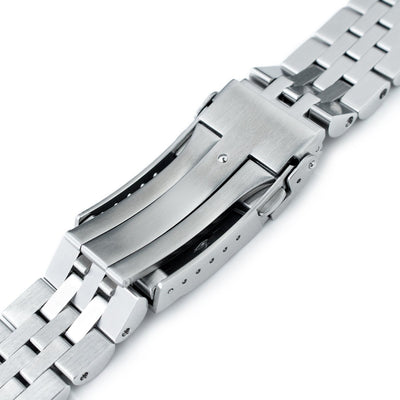 20mm ANGUS Jubilee 316L Stainless Steel Watch Bracelet for Seiko Mini Turtles SRPC35, Brushed, Submariner Clasp - Strapcode