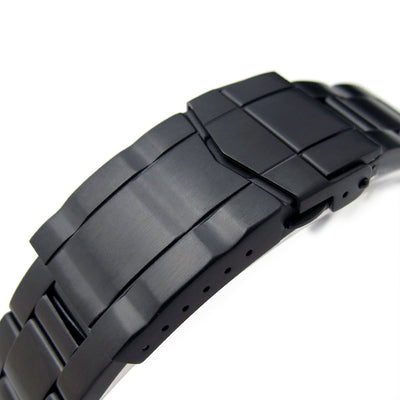 20mm Reissue Retro Razor 316L Stainless Steel PVD Black Watch Band, Submariner Diver Clasp - Strapcode