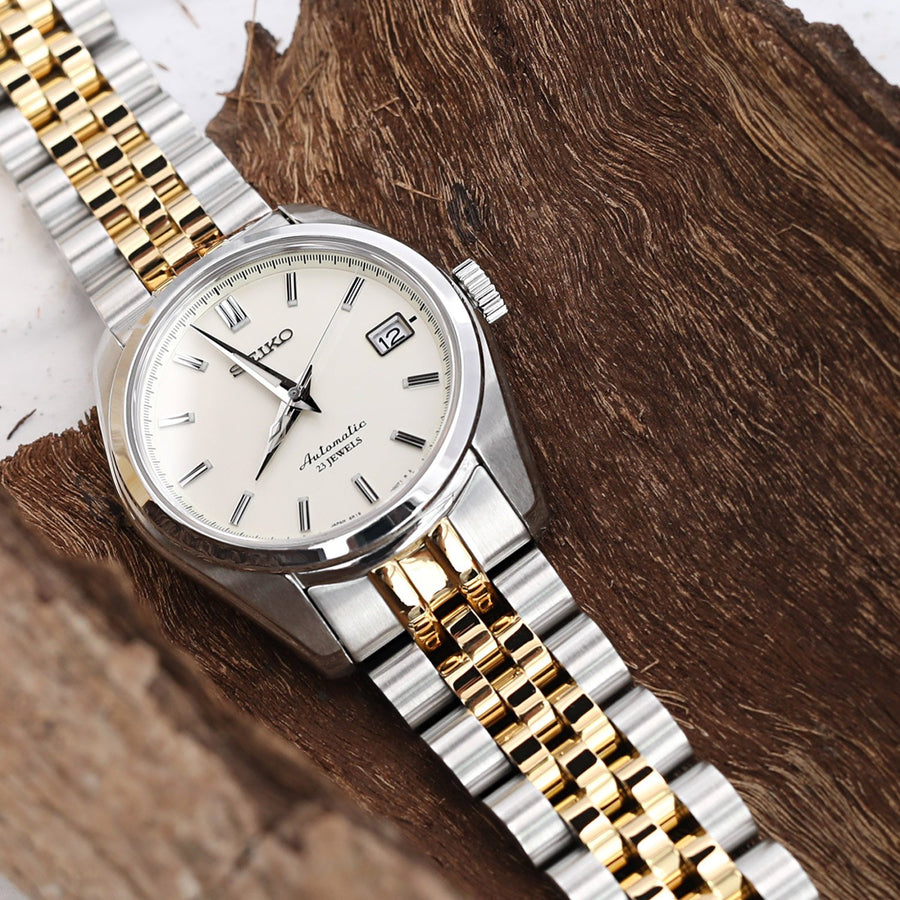 20mm ANGUS Jubilee 316L Stainless Steel Watch Bracelet for Seiko SARB035, Two Tone IP Gold, Button Chamfer - Strapcode