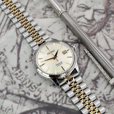 20mm Super Jubilee 316L Stainless Steel Watch Bracelet Straight End, Two Tone IP Gold, Submariner Clasp - Strapcode