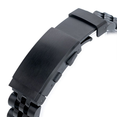 20mm ANGUS Jubilee 316L Stainless Steel Watch Bracelet Straight End, PVD Black, Wetsuit Ratchet Buckle - Strapcode