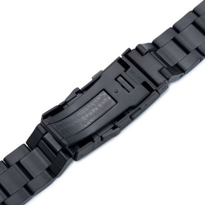 20mm Reissue Retro Razor 316L Stainless Steel PVD Black Watch Band, Wetsuit Ratchet Buckle - Strapcode