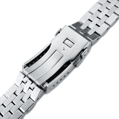 20mm ANGUS Jubilee 316L Stainless Steel Watch Bracelet for Seiko SARB033, Brushed, Button Chamfer - Strapcode
