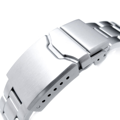 20mm Super 3D Oyster 316L Stainless Steel Watch Bracelet for Seiko Mechanical Automatic SARB033, Button Chamfer, Brushed - Strapcode