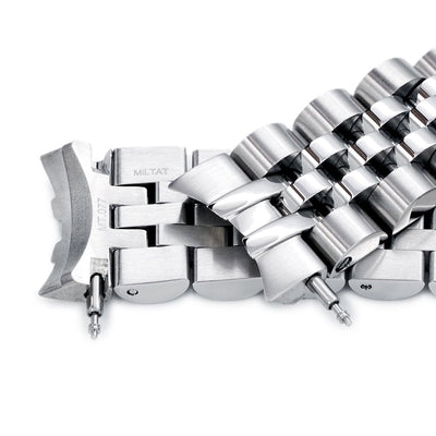 20mm ANGUS Jubilee 316L Stainless Steel Watch Bracelet for Seiko SARB035, Brushed, Button Chamfer - Strapcode