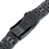 20mm ANGUS Jubilee 316L Stainless Steel Watch Bracelet Straight End, PVD Black, Button Chamfer - Strapcode