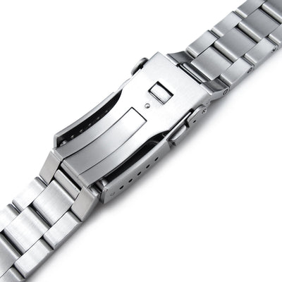 20mm Super 3D Oyster watch band for Seiko Alpinist SARB017, Button Chamfer Clasp Brushed & Polished - Strapcode