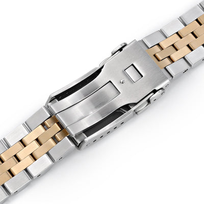 20mm ANGUS Jubilee 316L Stainless Steel Watch Bracelet for Seiko Alpinist SARB017, Two Tone IP Gold, Button Chamfer - Strapcode