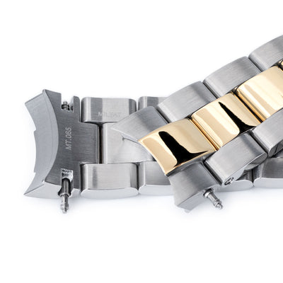 20mm Super 3D Oyster watch band for Seiko Alpinist SARB017, Two Tone IP Gold, Button Chamfer - Strapcode