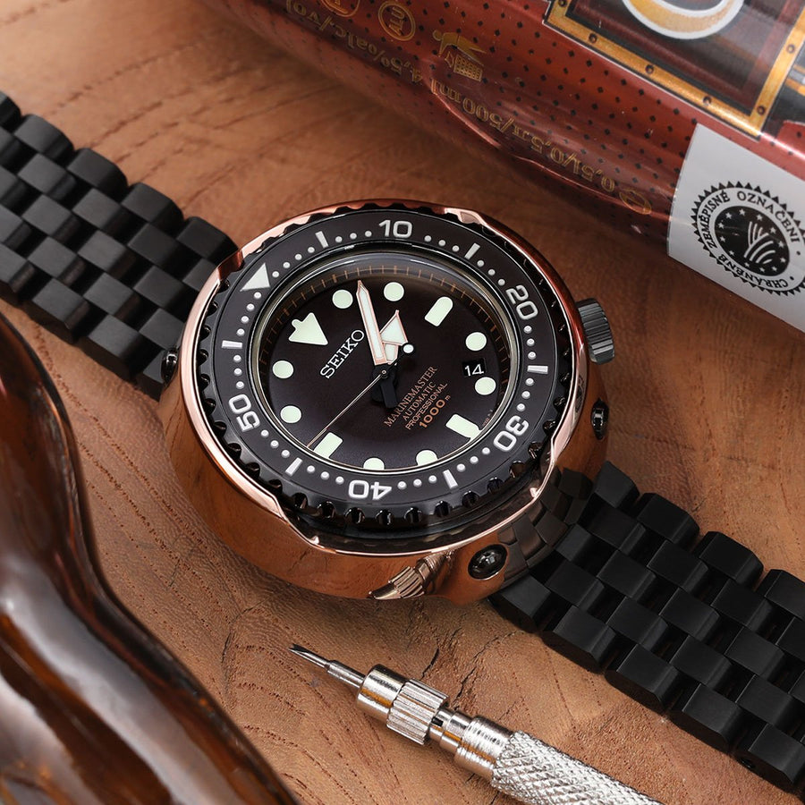 21.5mm SUPER Engineer Type II Solid Stainless Steel Watch Bracelet, Seiko Tuna Replacement Strap, Chamfer Diver Clasp PVD Black