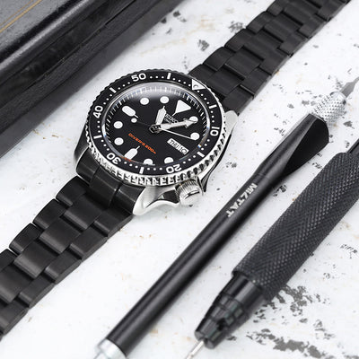 22mm Super-O Boyer watch band for SEIKO Diver SKX007, PVD Black, Wetsuit Ratchet Buckle