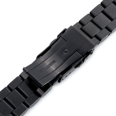 22mm Hexad Oyster 316L Stainless Steel Watch Band for Seiko New Turtles SRPC49K1 & SRP777, Diver Clasp PVD Black