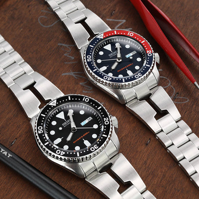 Reissue  22mm Retro Razor 316L Stainless Steel Bracelet for SEIKO Diver SKX007/009/011 Curved End, Button Chamfer Clasp