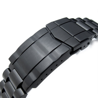 22mm Endmill 316L Stainless Steel Watch Bracelet for Seiko New Turtles SRPC49K1, SUB Clasp PVD Black