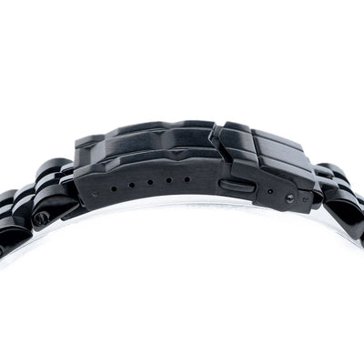 22mm ANGUS Jubilee 316L Stainless Steel Watch Bracelet for Seiko Turtle SRPC49K1, PVD Black, Submariner Clasp