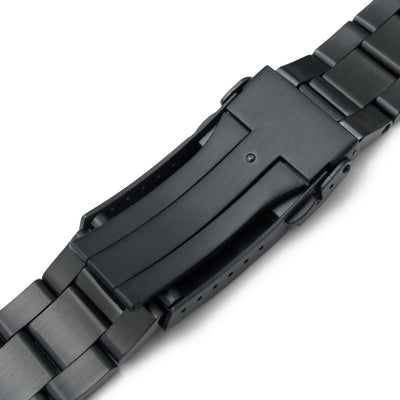 22mm Super-O Boyer 316L Stainless Steel Watch Bracelet for TU BB, SUB Clasp PVD Black - Strapcode
