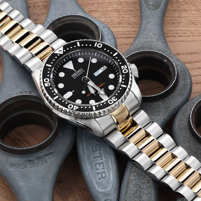 22mm Endmill 316L Stainless Steel Watch Bracelet for Seiko SKX007, Two Tone IP Gold, Submariner Clasp