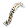 22mm ANGUS Jubilee 316L Stainless Steel Watch Bracelet for Seiko Turtle SRP775, Two Tone IP Gold, Submariner Clasp