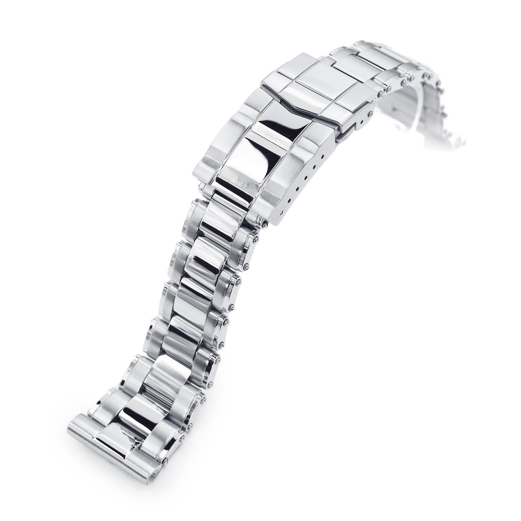 22mm Metabind 316L Stainless Steel Watch Bracelet Straight End Brushed with Polished Center SUB Clasp Strapcode Watch Bands