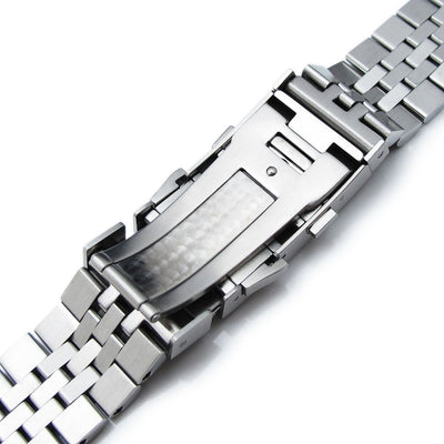 22mm Super Jubilee 316L SS Watch Band for Seiko SKX007, SKX009, Wetsuit Ratchet Buckle