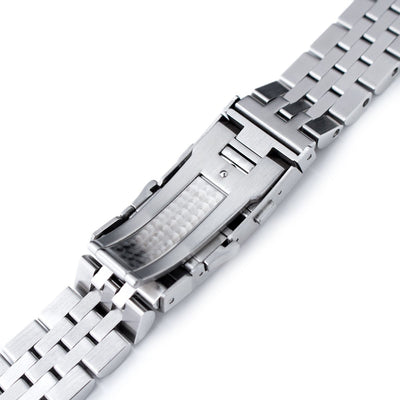 22mm ANGUS Jubilee 316L SS Watch Bracelet Straight End 1.8 Universal, Ratchet Buckle Brushed