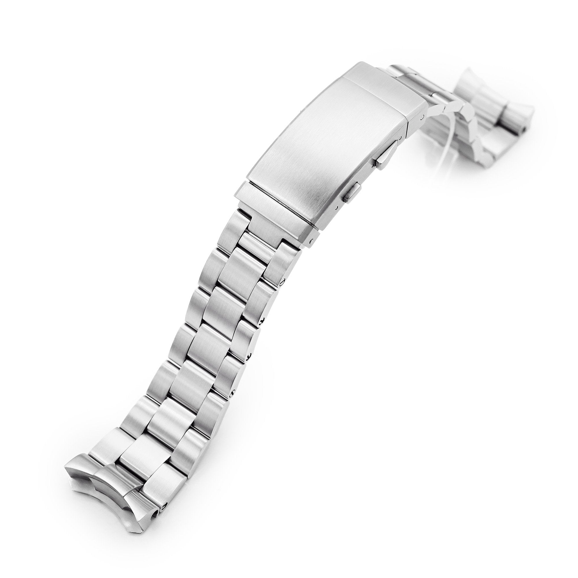 22mm Super-O Boyer 316L Stainless Steel Watch Band for Seiko 5, Brushed Wetsuit Ratchet Buckle Strapcode Watch Bands