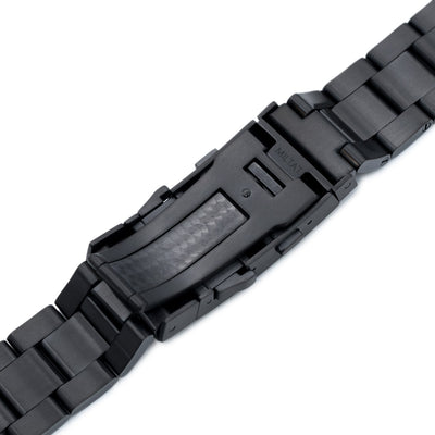 22mm Super Oyster watch band for SEIKO Diver SKX007, PVD Black, Wetsuit Ratchet Buckle