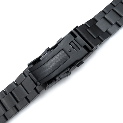 22mm Hexad 316L Stainless Steel Watch Band for Seiko Samurai SRPB51, SRPB55, Wetsuit Ratchet Buckle, PVD Black - Strapcode