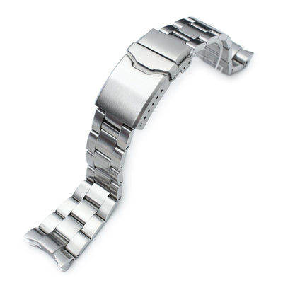 22mm Super 3D Oyster watch band for SEIKO Diver SKX007, 7002, Brushed, Button Chamfer