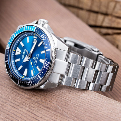 22mm Hexad Oyster 316L Stainless Steel Watch Band for Seiko Samurai SRPB51, Button Chamfer